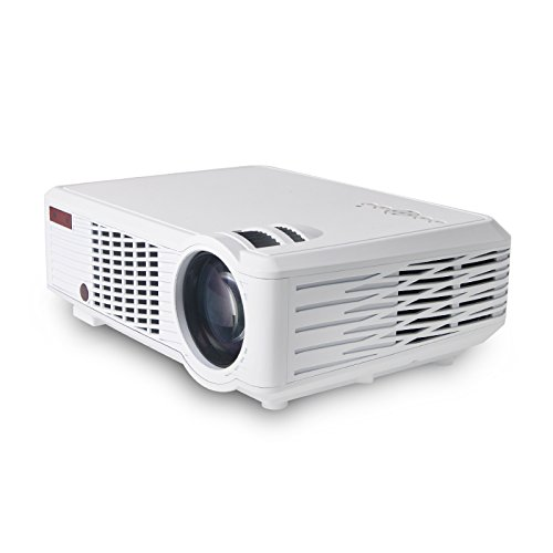 2000 Lumens Video Projector, Dinly LED LCD Full HD 1080P Portable Mini Multimedia Projector HDMI VGA AV USB AUDIO TV for Home Video Movie Bussiness Meeting White