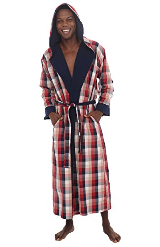 Del Rossa Woven with Terry Cotton Lining Full Length Hooded Bathrobe Robe dcb13afc3