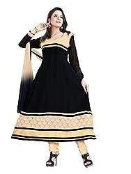 Parinaaz fashion Chhaya Georgette Black Unstitched Anarkali salwar suit dress material