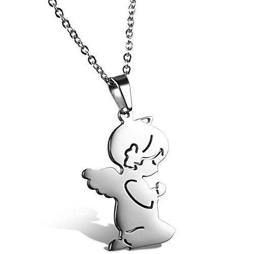 Jewelrywe Gioielli collana con pendente angelo carino bambino acciaio inox colore argento