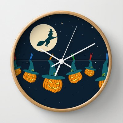Society6 - Halloween Pumpkins Wall Clock By Vitamin