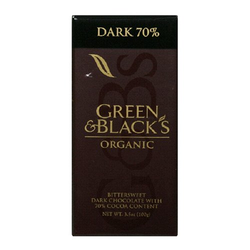 Green & Black's Organic Chocolate Bar, Dark 70% Cocoa, 3.5-Ounce Bars (Pack of 10)