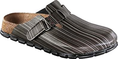 Alpro clogs C130 in size 42.0 N EU made of Birko-Flor in Stripes Brown with a narrow insole