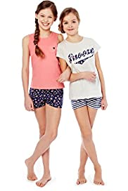 2 Pack Pure Cotton Snooze Shortie Pyjamas