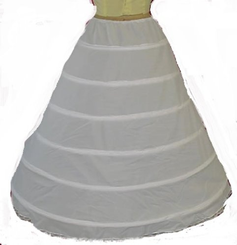 6 Bone X-Full Hoop Skirt Bridal Renaissance Civil War Skirt Slip (160DSXF) - White