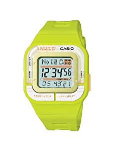 Casio Men's Quartz Watch with Grey Dial Digital Display and Green Resin Strap SDB-100-3AEF