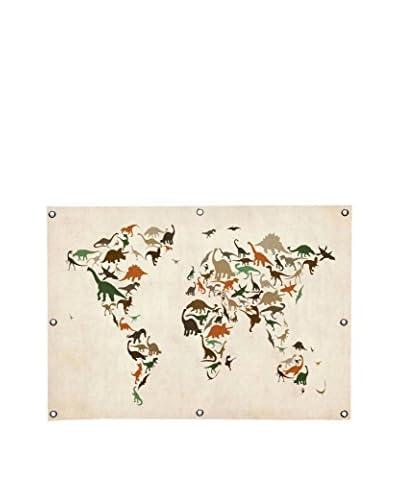 Michael Tompsett Dinosaurus Map Of The World III Canvas Wall Mural