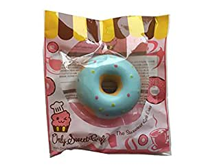 Ibloom Donut Squishy : New Ibloom x Only Sweet Cafe Ultra Soft Sky Blue Slow Rising Donut Squishy with Colorful Dots ...