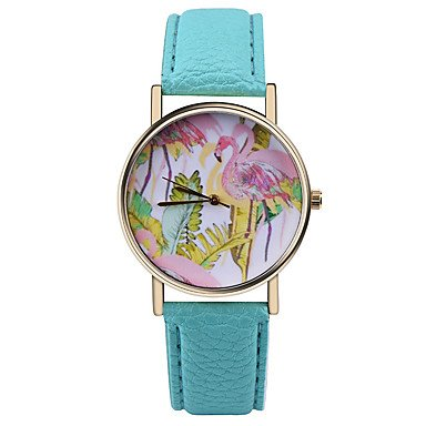 flamingo-tropical-watch-vintage-style-leather-watchwomen-watchesunisex-watchmens-watchpalm-leavesgre