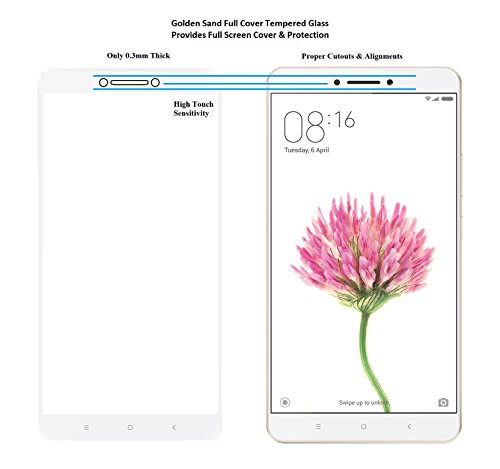 huge selection of bc1fa 4644b Xiaomi Mi Max Prime Screen Protector Golden Sand™ Premium Series Full  Screen Cover Tempered Glass - White Colour [Best Screen Protector For Mi  Max / ...