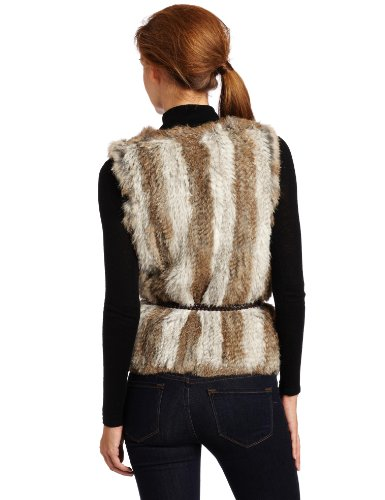525 America Women''s Stripped Vest Sweater, Grey/Natural, Small