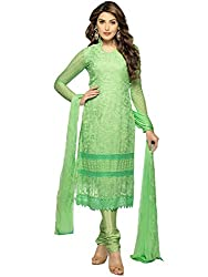 Meet Enterprise Casual Wear Green Dress Material