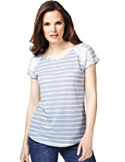 Floral Lace Striped T-Shirt with Linen