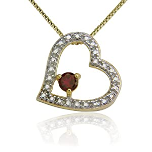 18k Yellow Gold Plated Lab Created Ruby and Diamond Accent Heart Pendant, 18""