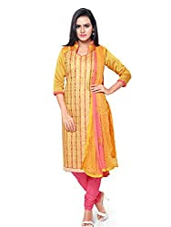 Kanchnar Women's Yellow and Pink Chanderi Cotton Embroidered Casual Wear Dress Material,Navratri Festival Clothing Diwali Gift,Great Indian Sale