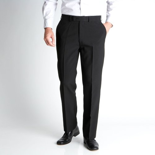 Thomas Nash Black Easy Care Flat Front Trousers
