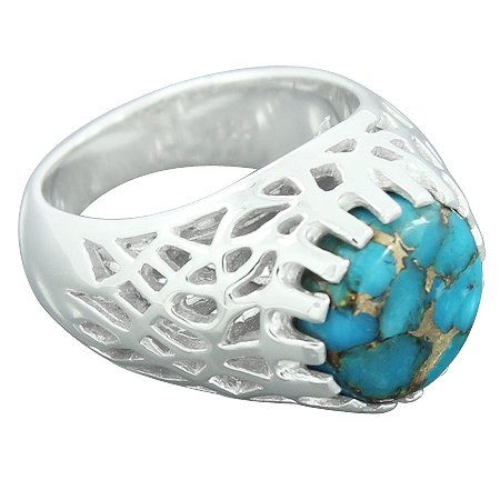925 Sterling Silver Blue Copper Turquoise Gemstone Solitaire Ring Jewelry
