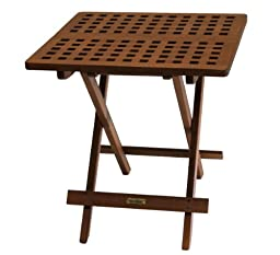 Outdoor Interiors 10070 Eucalyptus Folding Side Table, Fully Assembled