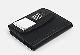 Premium Leather Organizer Padfolio with Calculator, to Fit Jr Legal A5 Paper, Black