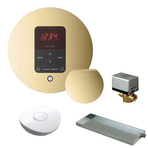 (Msbutler1Rd-Pb) Ms Butler Package With Itempo Pro Round Programmable Control For Steam Bath Generator In Polished Brass