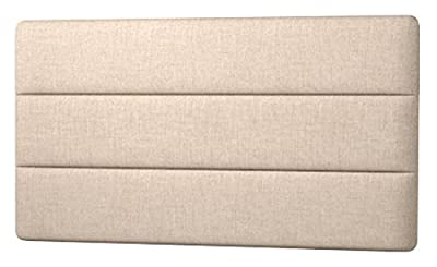 Happy Beds Cornell Lined Headboard, Fabric, Beige Cream Cotton, 4 ft 6-Inch, Double