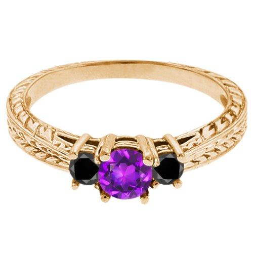 0.60 Ct Round Purple Amethyst Black Diamond 14K Yellow Gold 3-Stone Ring