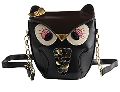 Yazilind Black Brown Lovely Owl Pu Leather Chain Shoulder Handbag Tote Bag For Girls Women