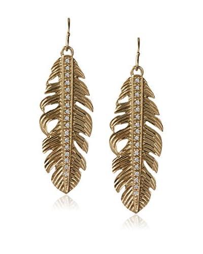Melinda Maria Nina Feather Pavé Gold White CZ Earrings