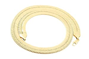 JOTW Gold 14mm Herringbone Chain Necklace (24 Inches)