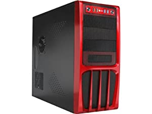 Rosewill Black Hot Dipped Galvanized Steel ATX Mid Tower Computer Case with Front Panel and 500W Power Supply R536-Red