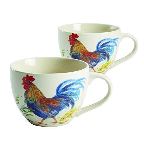 Paula Deen 2 Piece Garden Rooster Stoneware Dinnerware Beverage Mug Set, Print (Chicken Dinnerware compare prices)