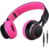 Sound Intone HD30 Stereo Lightweight Folding Portable Headphones Headsets Kids or Adults Headphones Includes In-line Microphone and Controller for Talk with Detachable 3.5 Mm Audio Cable,Stretchable Headband,Great Heavy Bass,with Soft Earpads Earphones Men and Women Boys and Girls Earpieces for iPhone,All Android Smartphones,Pc,Laptop,Mp3/mp4,Tablet Earphones(rose)