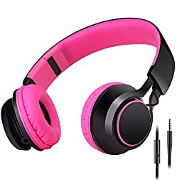 Sound Intone HD30 Stereo Lightweight Folding Portable Headsets Kids or Adults Headphones Includes In-line Microphone and Controller for Talk with Detachable 3.5 Mm Audio Cable,Stretchable Headband,Great Heavy Bass,with Soft Earpads Earphones Men and Women