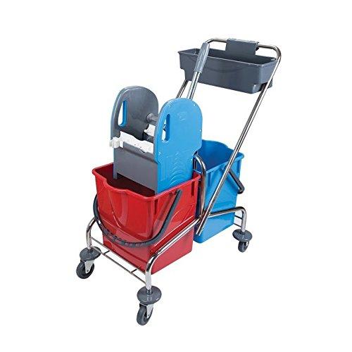 aviva-pro-57-double-bucket-cart-chrome-plated-2-x-18-litre-bucket-and-storage