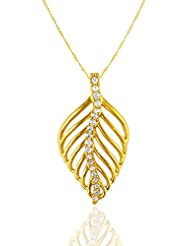 Exxotic Designer Fashion Gold Plated Sterling Silver Leaf Pendant Jewellery Gift For Girls And Women