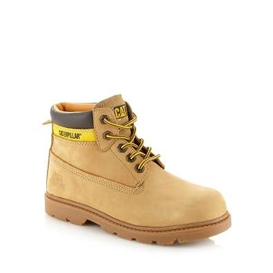 Caterpillar Kids Boy's Tan Leather Boots 3.5 Older
