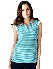 Per Una Pure Cotton Striped Polo Shirt