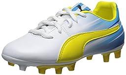 PUMA Aguero V2 FG JR Sneaker (Little Kid/Big Kid) , White/Blazing Yellow, 1 M US Little Kid