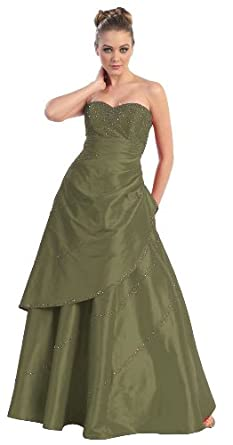 Strapless Taffeta Prom Formal Gown Long Dress Sizes 4-14 #704 (4, Olive)