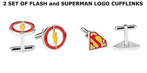 DC-Comics-Flash-and-Superman-Logos-2-Set-Cufflinks-By-Athena