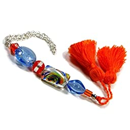 Handmade Scissor Fob Beaded Blue Orange Cross Stitch Needlepoint Key Fob