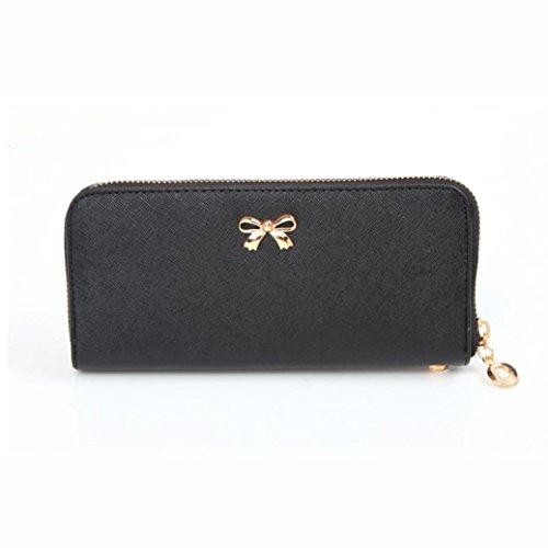 DDLBiz® Le donne Cute bowknot borsa solida borsa Portafoglio Wearable, Nero