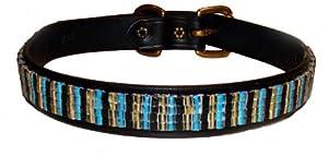 Just Fur Fun Dog Collar, Modern Classic, 22-Inch, Black Leather