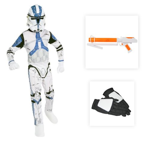 Star Wars Clone Trooper Child Costume with Gloves and Blaster - Large (12-14)