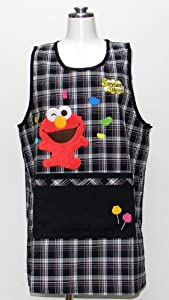 Sesame Street check large side button kitchen apron apron character Black 56507b (japan import)