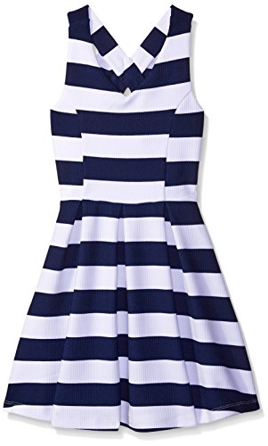 Zunie Girls' Textured Knit Skater Dress with Bow Back, Navy/White, 16