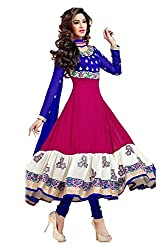 Shree Fashion Hub Blue Unstitched Embroidered Dress Material