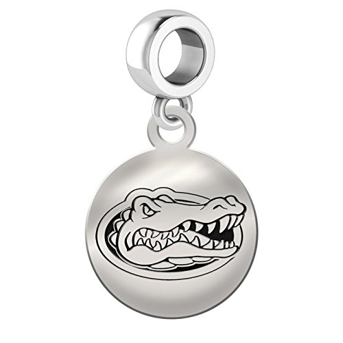 Florida Gators Sterling Silver Round Drop Charm Fits All European Style Bracelets