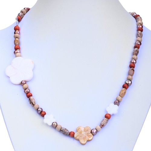 EXP Silver, FW Pearl, Mother of Pearl & Jasper Necklace