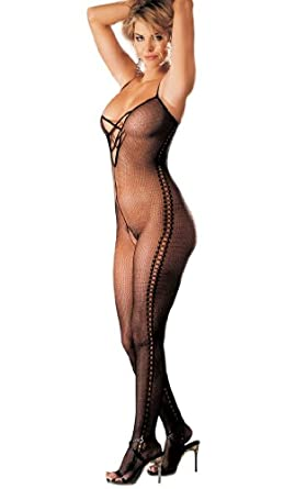 Mock Beaded Bodystocking in Black